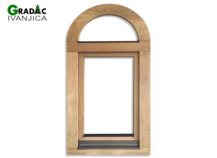 Ekskluzivna drvena stolarija, drveni jednokrilni prozor od lameliranog drveta sa poluokruglim fiksnim delom