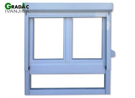 Drveni trokrilni prozor, euro falc 68, beli, sa aluminijumskom roletom i rolo komarnikom - Stolarija Gradac Ivanjica