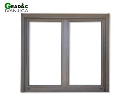 Drvo aluminijum dvokrilni prozor, spolja aluminijum metalik siva boja, iznutra lamelirano drvo bele boje, Stolarija Gradac Ivanjica.