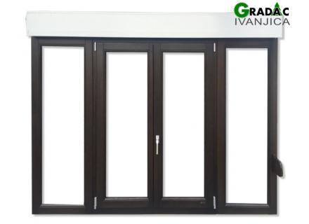 Drveni četverokrilni prozor od lameliranog drveta, euro falc 68, sa aluminijumskom roletom i rolo komarnikom - Stolarija Gradac Ivanjica
