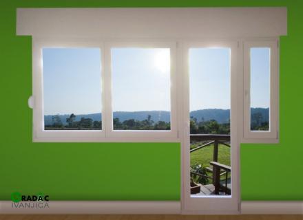 Drvena balkonska vrata i prozori, eurofalc 68, sa roletnama, stolarija Gradac Ivanjica