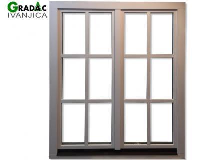 Dvokrilni drveni prozor Euro falc 68 sa aluminjumskom eloksiranom okapnicom